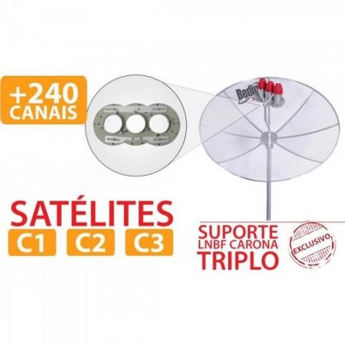 Suporte LNBF Carona Triplo C1/C2/C3 Cinza BEDINSAT