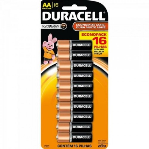 Pilha Alcalina AA Duracell cartela c/ 16 pilhas - CAR / 16