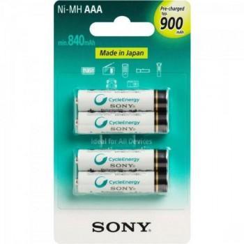 Pilha Recarregavel AAA 900mAh NiMh NH-AAA-B4GN Sony cartela c/4 pilhas - CAR / 4