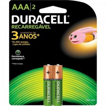 Pilha Recarregavel AAA 750mah Duracell Caixa c/12 pilhas (cartela c/2) - BLI / 12